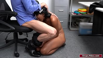 Ebony sucks security officers big cock