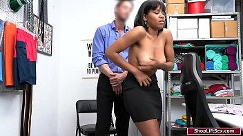 Ebony sucks security officers big cock