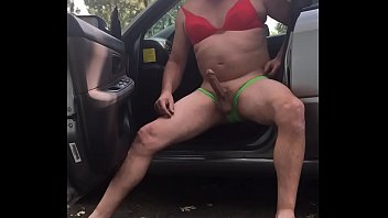 Dad/mature cruising in car in bra/panties flashing a guy  filming adam longrod
