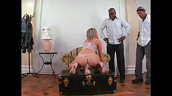 Horny blonde bitch Xandy taking two black dicks