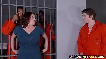 Space prison porn - Busty maggie green has interracial threesome in jail