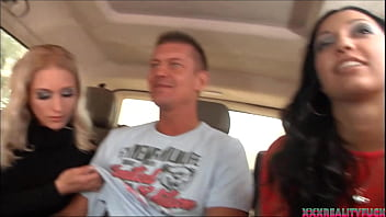 Porn babe Cassie and her blonde friend took horny amateur guy to have fun in their fuck bus