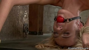 Beautiful slut is fucked on hogtie