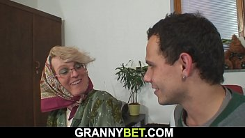 Lonely 60 years old blonde sucks and rides cock