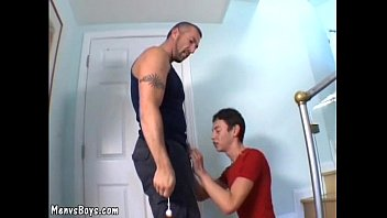 Old gay with gorgeous body pokes yelling youngster 5 min