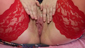 Mature red hair woman Mature hairy pussy with a wet hole close up, milf masturbating to orgasm.