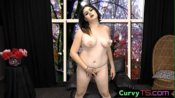 Chubby bigtits shemale enjoys solo wanking
