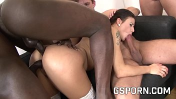 Mega slut for interracial group of four cocks