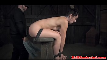 Suspended sexslave whipped and pussy toyed