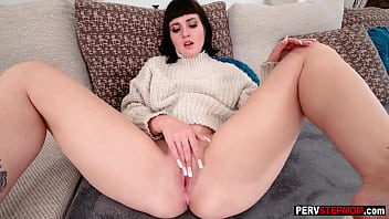 Crazy big boobs stepmom Jane Dove shows pussy to a stepson and he fucked her so hard