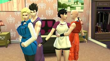 Dragon Ball Porn Hentai Intercambio de Esposas Videl y Nro 18 Folladas como perras Maduras infieles Calientes NTR