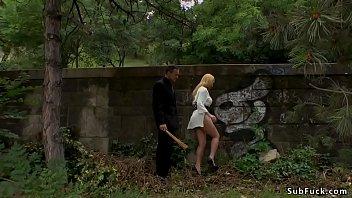 Blonde caned in public park and bar porno izle