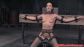 Restrained subs endure rough punishment
