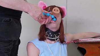 Degraded BDSM Pig Slave Eats Her Doms Ass