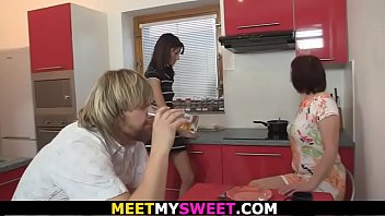 He finds old couple and teen fucking on the kitchen