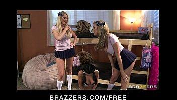 Big-boob blonde sorority sisters fuck brunette slut with strap-on thumbnail