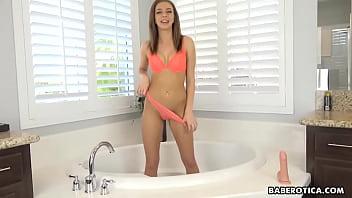 Solo teen brunette, Tiffany Watson used a dildo, in 4K