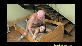 Man boobs grown by herbs Lucky day for horny grandpa
