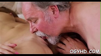 Young playgirl licked by old guy