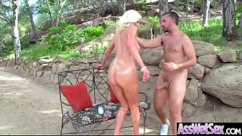Big Wet Ass Girl (Riley Jenner) Get Oiled And Hard Style Analy Banged clip-27