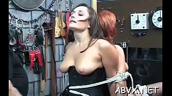 Bondage long tube Coarse spanking and harsh bondage on womans bawdy cleft