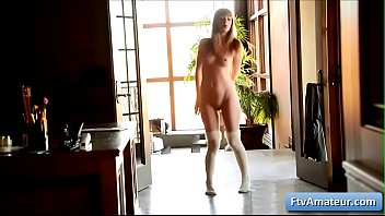 Sensual blonde young amateur Alana gets naked and dance in her house