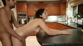 Sexy Indian pounded hard on kitchen counter fuck