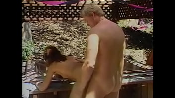 Lecherous old geezer invites exotical beauty Lana Sands to oudoor bathing-place where he could dance back door boogie with her