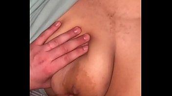 I jerk off my son on my boobs last night
