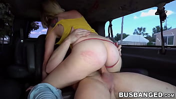 Helpless blonde Asia Riggs riding cock in van and blowjob