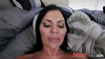 Busty MILF was found sleeping naked by her horny big cock stepson.