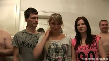 Gang bang sex partys Girlfriend and her sister get fucked at czech gang bang