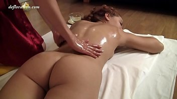 Zadova Ginger Haired Teen Being Oil Massaged. A Real Virgin Enjoys The Touch Of Another's Hands! Wow Massage!