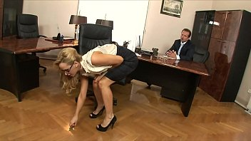 Boss fucks his stunning blonde secretary Aleska Diamond hard on his office desk