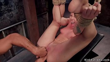 Shaved pussy blonde trainee fucked bdsm