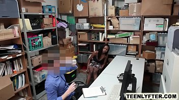 Ebony teen shoplifter fucked hard by sleazy cop thumbnail