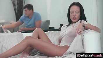 Glamour brunette babe Lexi Layo gets pounded on the couch