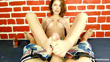 Hot stepsister finishes him with a footjob