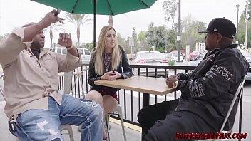Skinny blonde Alexa Grace fucks two monster black cocks thumbnail