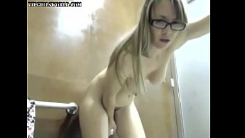 Horny blonde fucks her dildo in a public bathroom - VipGirlsWorld.com