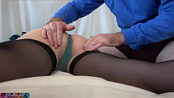 Big ass stepmom massaged and fucked by stepson