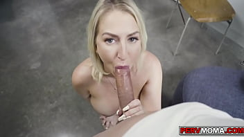 Stepmom Quinn Waters strips and gives stepson a blowjob