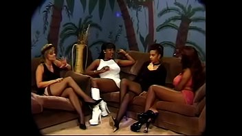 Three nice well shaped black girls are getting their cunts screwed with cock and dildo