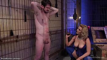 Huge boobs dom fucks man with machine
