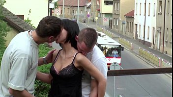PUBLIC sex gangbang threesome with teen girl on a train bridge on a street