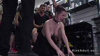 Big butt babe plugged and whipped in public