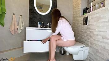 Sexy Girl Cowgirl Sex Toy in Bathroom - Solo Female 5 min