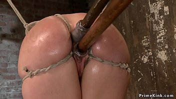 Gagged busty slave is dp toyed on hogtie