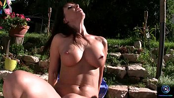 Free masturbation video coaxing Maria bellucci teases in the garden nude