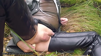 Fruit enema in the forest, part 1 - rubber freak shoves grapes, bananas in his asshole